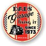 Dad's Garage Roundel Design Year Dated 1973 Vinyl Car Sticker Decal 95x95mm