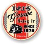 Dad's Garage Roundel Design Year Dated 1976 Vinyl Car Sticker Decal 95x95mm