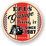 Dad's Garage Roundel Design Year Dated 1987 Vinyl Car Sticker Decal 95x95mm