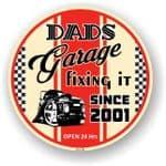 Dad's Garage Roundel Design Year Dated 2001 Vinyl Car Sticker Decal 95x95mm
