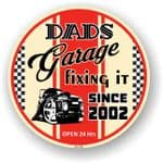 Dad's Garage Roundel Design Year Dated 2002 Vinyl Car Sticker Decal 95x95mm