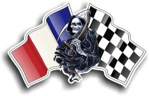 DEATH The Grim Reaper Design With France French Flag Motif External Vinyl Car Sticker 130x80mm