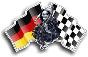 DEATH The Grim Reaper Design With Germany German Flag Motif External Vinyl Car Sticker 130x80mm