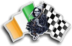 DEATH The Grim Reaper Design With Ireland Irish IRL Flag Motif External Vinyl Car Sticker 130x80mm