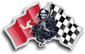 DEATH The Grim Reaper Design With Isle Of Man Mann Manx Flag TT Motif Vinyl Car Sticker 130x80mm