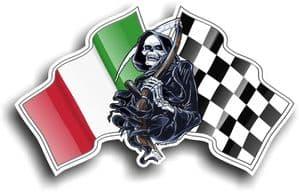 DEATH The Grim Reaper Design With Italy Italian il Tricolore Flag Motif Vinyl Car Sticker 130x80mm