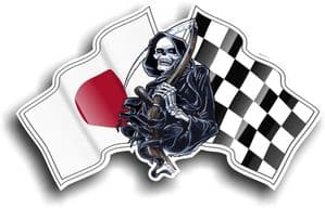 DEATH The Grim Reaper Design With Japanese Hinomaru Flag Motif Vinyl Car Sticker 130x80mm