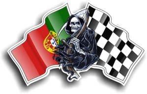 DEATH The Grim Reaper Design With Portugal Portuguese Flag Motif Vinyl Car Sticker 130x80mm