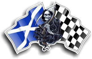 DEATH The Grim Reaper Design With Scotland Scottish Saltire Flag Motif Vinyl Car Sticker 130x80mm