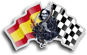 DEATH The Grim Reaper Design With Spain Spanish Country flag Motif Vinyl Car Sticker 130x80mm