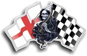 DEATH The Grim Reaper Design With St Georges Cross England Flag Vinyl Car Sticker 130x80mm