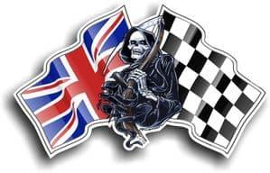 DEATH The Grim Reaper Design With Union Jack British Flag Motif Vinyl Car Sticker 130x80mm