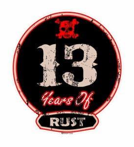Distressed Aged 13 Years Of Rust Motif For Retro Rat Look VW etc. External Vinyl Car Sticker 100x90mm