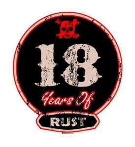 Distressed Aged 18 Years Of Rust Motif For Retro Rat Look VW etc. External Vinyl Car Sticker 100x90mm