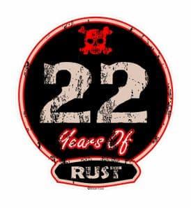 Distressed Aged 22 Years Of Rust Motif For Retro Rat Look VW etc. External Vinyl Car Sticker 100x90mm