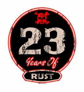 Distressed Aged 23 Years Of Rust Motif For Retro Rat Look VW etc. External Vinyl Car Sticker 100x90mm