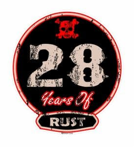 Distressed Aged 28 Years Of Rust Motif For Retro Rat Look VW etc. External Vinyl Car Sticker 100x90mm