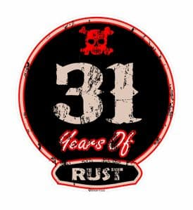 Distressed Aged 31 Years Of Rust Motif For Retro Rat Look VW etc. External Vinyl Car Sticker 100x90mm