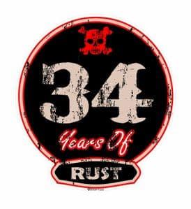 Distressed Aged 34 Years Of Rust Motif For Retro Rat Look VW etc. External Vinyl Car Sticker 100x90mm