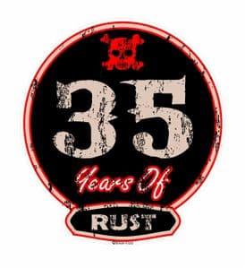 Distressed Aged 35 Years Of Rust Motif For Retro Rat Look VW etc. External Vinyl Car Sticker 100x90mm