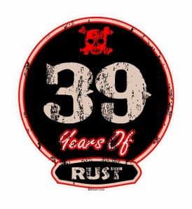 Distressed Aged 39 Years Of Rust Motif For Retro Rat Look VW etc. External Vinyl Car Sticker 100x90mm