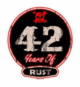 Distressed Aged 42 Years Of Rust Motif For Retro Rat Look VW etc. External Vinyl Car Sticker 100x90mm
