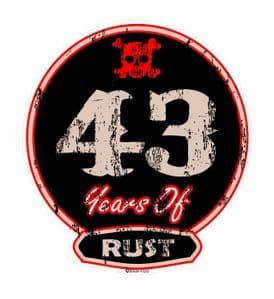 Distressed Aged 43 Years Of Rust Motif For Retro Rat Look VW etc. External Vinyl Car Sticker 100x90mm