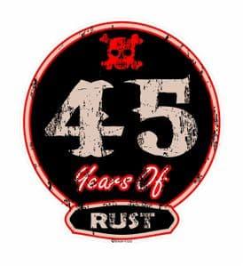 Distressed Aged 45 Years Of Rust Motif For Retro Rat Look VW etc. External Vinyl Car Sticker 100x90mm