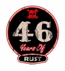 Distressed Aged 46 Years Of Rust Motif For Retro Rat Look VW etc. External Vinyl Car Sticker 100x90mm