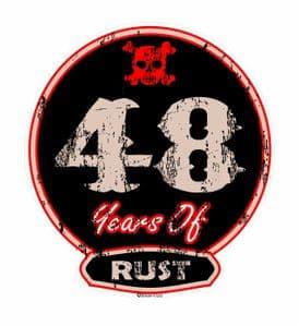 Distressed Aged 48 Years Of Rust Motif For Retro Rat Look VW etc. External Vinyl Car Sticker 100x90mm