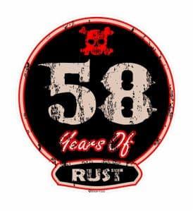 Distressed Aged 58 Years Of Rust Motif For Retro Rat Look VW etc. External Vinyl Car Sticker 100x90mm