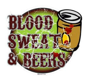 Distressed Aged BLOOD SWEAT & BEERS Funny Design For Rat Look VW Vinyl Car sticker decal 110x90mm