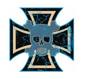 Distressed Aged IRON CROSS WITH SKULL Design For Rat Look VW Vinyl Car sticker decal 90x90mm