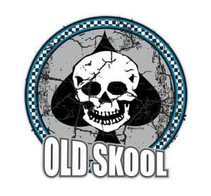 Distressed Aged OLD SKOOL Skull & Ace Motif Retro Design For Rat Look VW Vinyl Car sticker decal 90x90mm