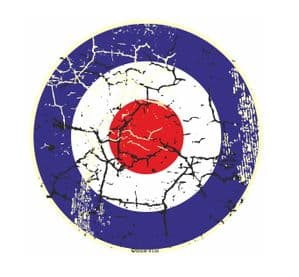 Distressed Aged RAF MOD Roundal Target Design For Rat Look VW Vinyl Car sticker decal 90x90mm