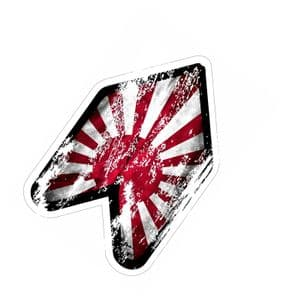 Distressed Aged RISING SUN WAKABA LEAF WAK Young Driver JDM car sticker Decal 120x80mm
