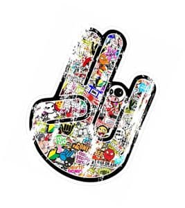 Distressed Aged THE SHOCKER HAND With Multi Colour Stickerbomb Motif Vinyl Car sticker decal 115x80mm