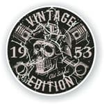 Distressed Aged Vintage Edition Year Dated 1953 Biker Skull Roundel Vinyl Car Sticker Decal 87x87mm