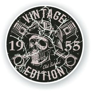 Distressed Aged Vintage Edition Year Dated 1955 Biker Skull Roundel Vinyl Car Sticker Decal 87x87mm
