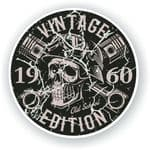 Distressed Aged Vintage Edition Year Dated 1960 Biker Skull Roundel Vinyl Car Sticker Decal 87x87mm