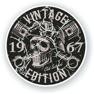 Distressed Aged Vintage Edition Year Dated 1967 Biker Skull Roundel Vinyl Car Sticker Decal 87x87mm