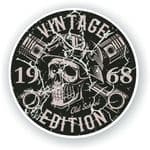 Distressed Aged Vintage Edition Year Dated 1968 Biker Skull Roundel Vinyl Car Sticker Decal 87x87mm