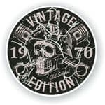 Distressed Aged Vintage Edition Year Dated 1970 Biker Skull Roundel Vinyl Car Sticker Decal 87x87mm