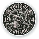 Distressed Aged Vintage Edition Year Dated 1974 Biker Skull Roundel Vinyl Car Sticker Decal 87x87mm