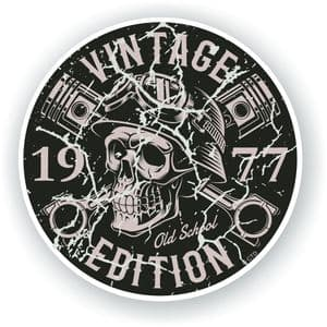 Distressed Aged Vintage Edition Year Dated 1977 Biker Skull Roundel Vinyl Car Sticker Decal 87x87mm