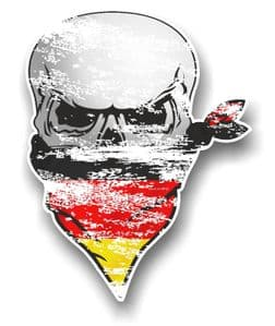 Distressed GOTHIC BIKER Pirate SKULL & Face Bandana Germany German Flag Vinyl Car Sticker 110x75mm
