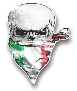 Distressed GOTHIC BIKER Pirate SKULL & Face Bandana Italy Italian Flag Vinyl Car Sticker 110x75mm