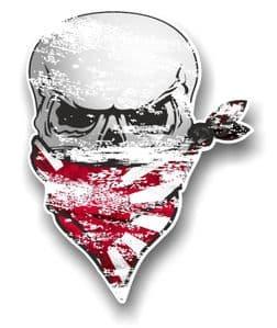 Distressed GOTHIC BIKER Pirate SKULL & Face Bandana JDM R/SUN Japan Flag Vinyl Car Sticker 110x75mm