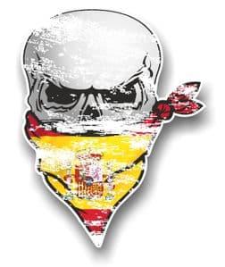 Distressed GOTHIC BIKER Pirate SKULL & Face Bandana Spain Spanish Flag Vinyl Car Sticker 110x75mm