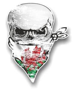 Distressed GOTHIC BIKER Pirate SKULL & Face Bandana Welsh CYMRU Flag Vinyl Car Sticker 110x75mm